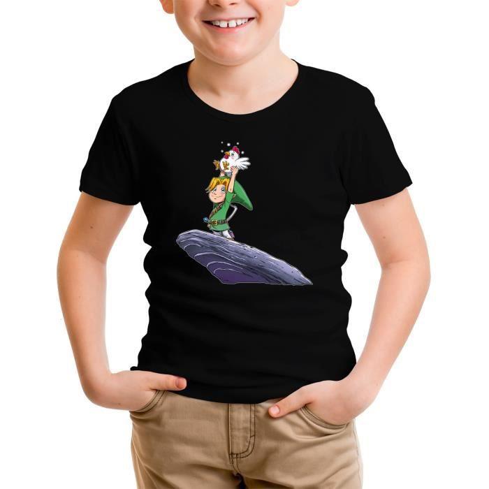 T-SHIRT T-shirt Enfant Noir Zelda parodique Link et une co