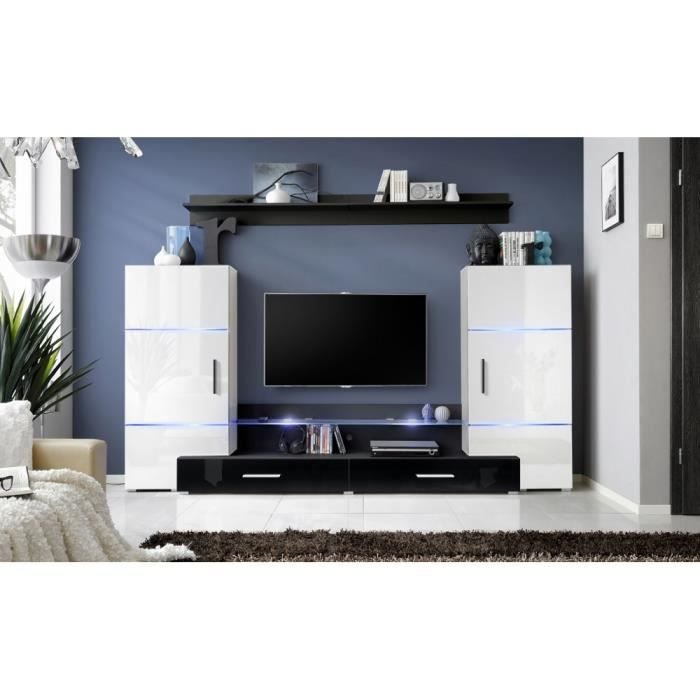 meuble de salon tv design mural toner ii moderne 226cm blanc noir achat vente meuble tv. Black Bedroom Furniture Sets. Home Design Ideas