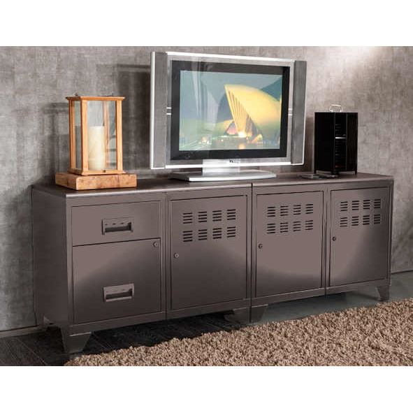 Meuble tv modulable en m tal taupe achat for Meuble tv modulable
