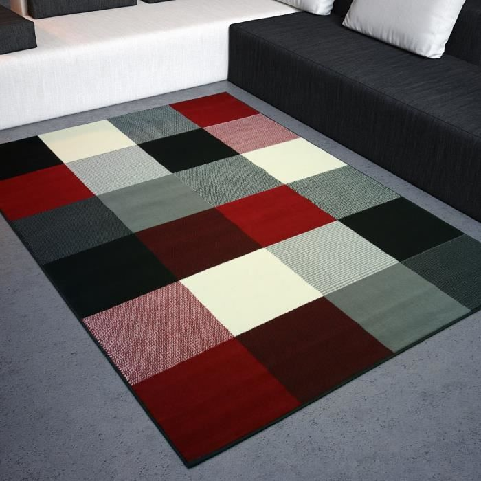 tapis salon design carr s noir rouge blanc univ achat. Black Bedroom Furniture Sets. Home Design Ideas