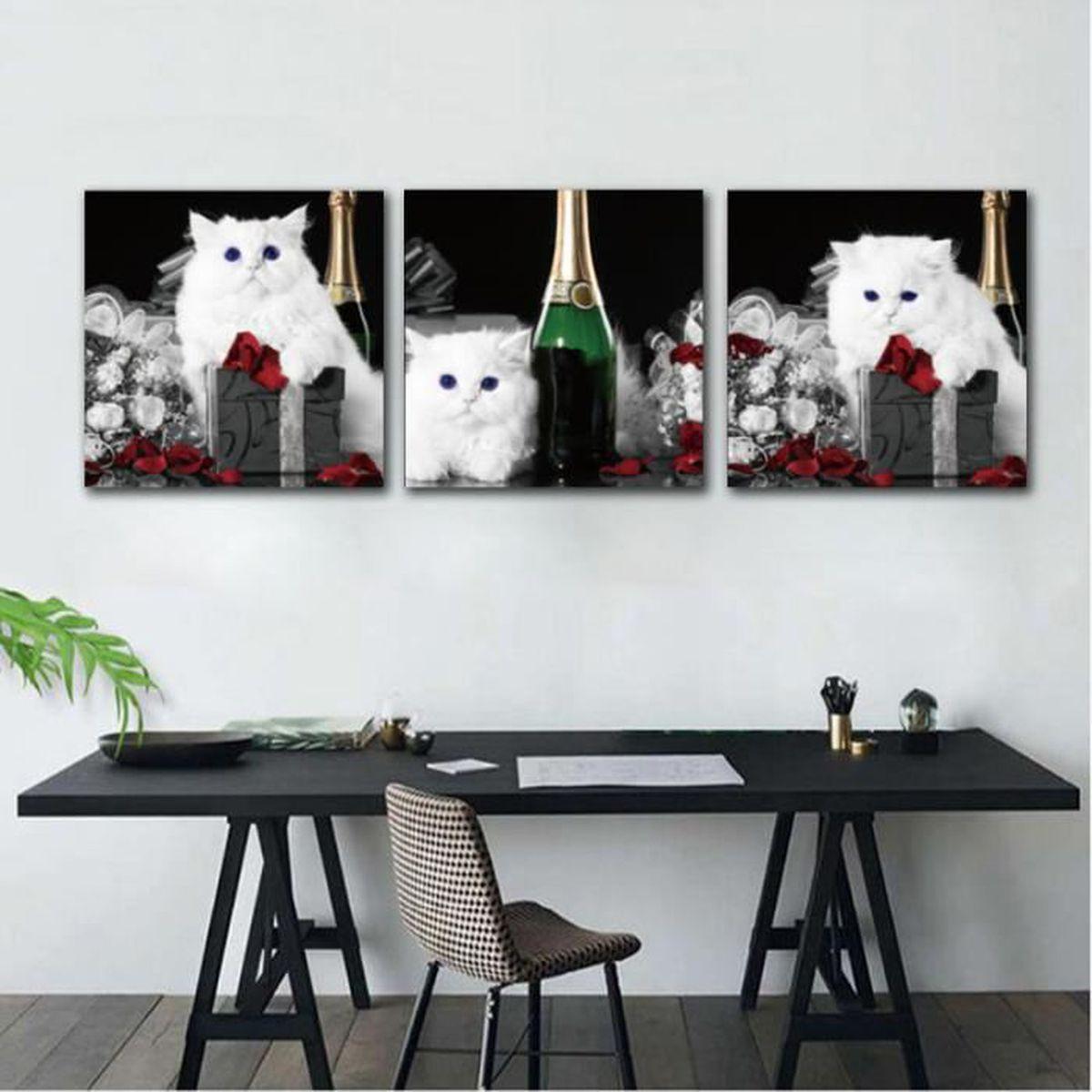 Decoration Et Peinture Salon sans cadre 3 panneaux mignon blanc chat bouteille toile