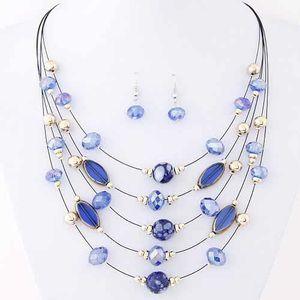 SAUTOIR ET COLLIER collier bleu multirangs modèle Akihira