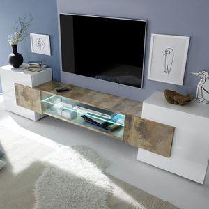MEUBLE TV Meuble tv design blanc et couleur bois LUXOR 3  Av