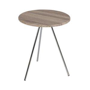 TABLE D'APPOINT Guéridon rond 40 cm en bois et acier - DANDY