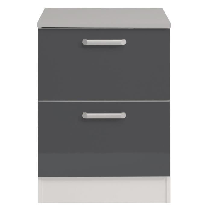 cook meuble bas de cuisine 60 cm avec plan de travail inclus d cor gris achat vente. Black Bedroom Furniture Sets. Home Design Ideas