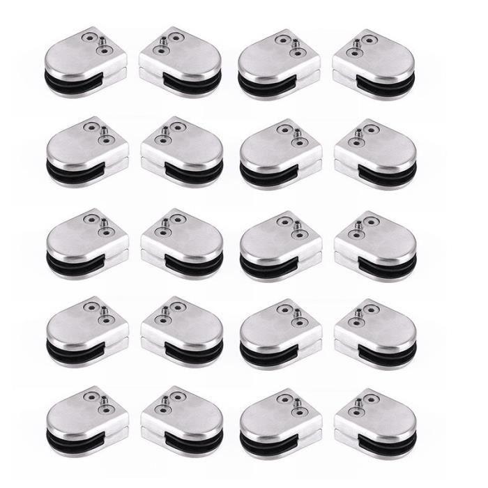 20* Pince à Verre Glass clamp 8-10mm en acier inoxydable
