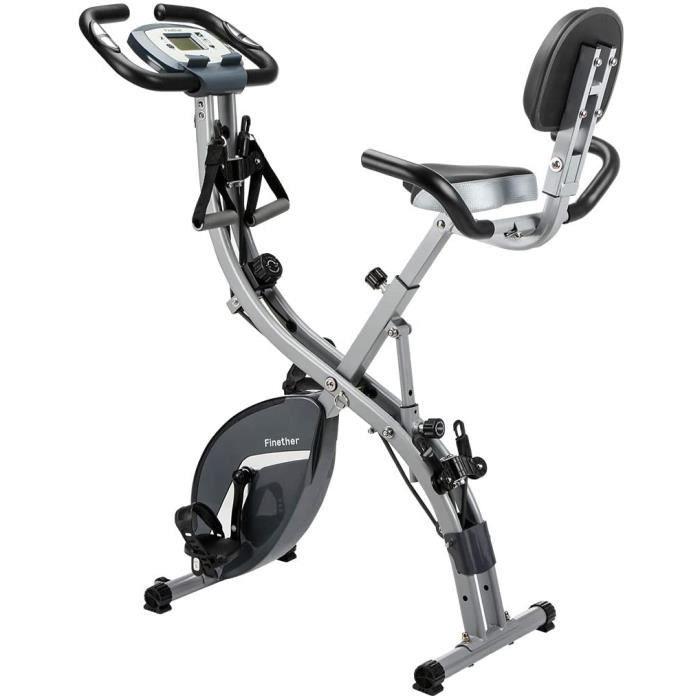 Finether Vélo de Fitness Pliant- Vélo d'Entrainement- Vélo d'Exercice- Vélo Cardio- Fitness Bike-Vélo Dossier avec 8 Niveaux de Rési
