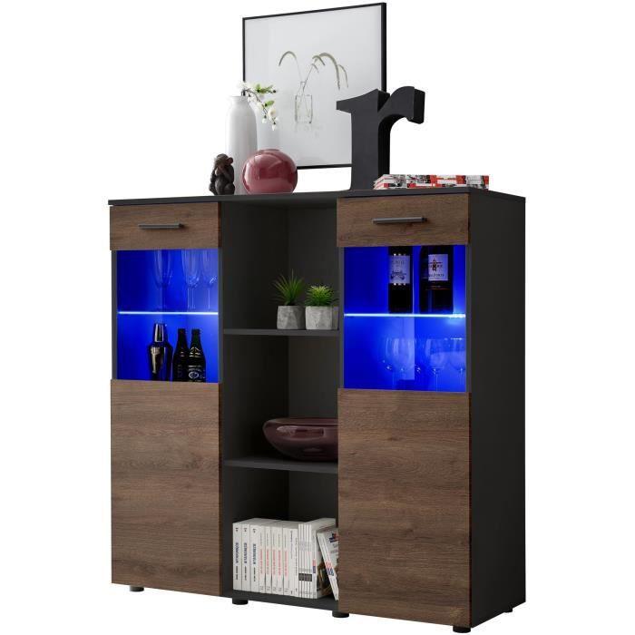 Extreme Furniture Buffet Mirror - LED bleues - Carbone Mat & Noir - Façades en Bois Mat - L120cm x H125cm x P41cm