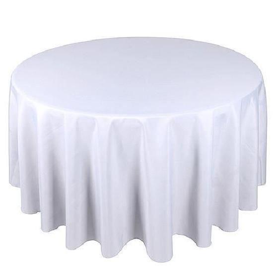 Lot de 5 Nappes de table ronde - Polyester - Blanc