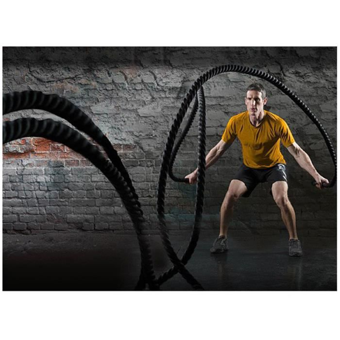 LO Noir Or Corde Ondulatoire 12M 38MM Battle Rope Sport Exercice Fitness Physique Combat Gym Keep Fit Fitness