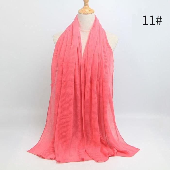 Foulard hijab en coton froissé, écharpe douce, écharpe chaude, écharpe chaude, châle, 25 couleurs, Design hiver, tendanc DY5174