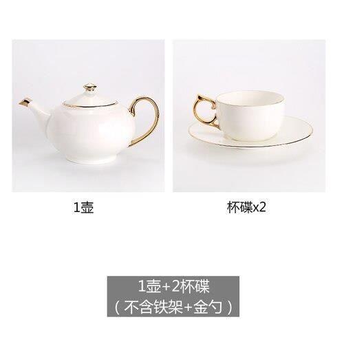 Service à café avec soucoupes,Ensemble de tasses et soucoupes à café en porcelaine, os Royal, bordure dorée, blanc, tasse - Type 4