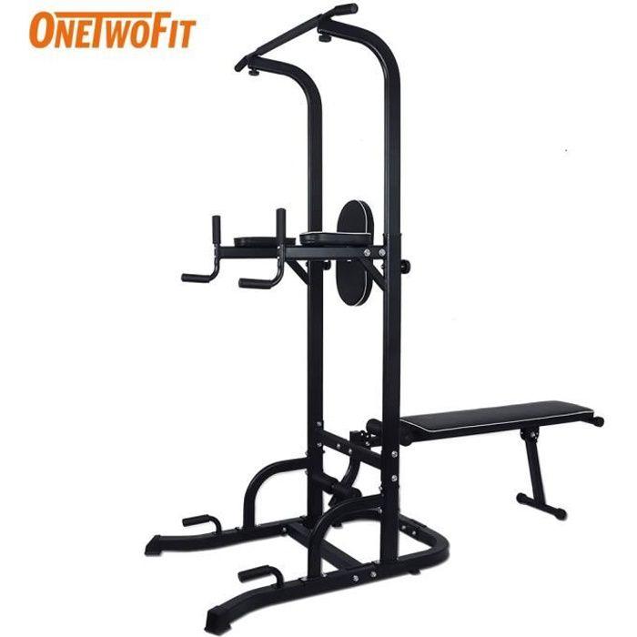 OneTwoFit banc de musculation, barre de Traction, Tour Multifonctionnelle avec Banc Assis, Hauteur Réglable Station de Dip OT127A
