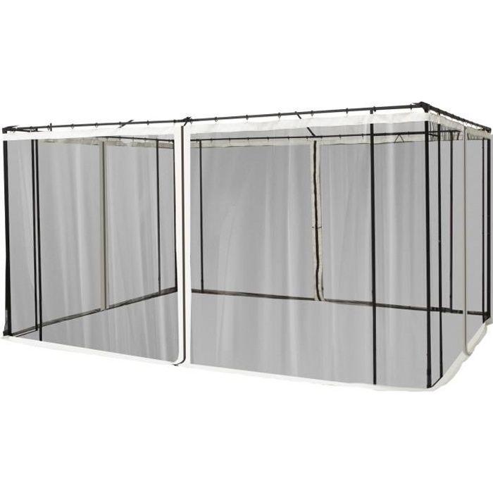 Moustiquaires pour tonnelle barnum pavillon de jardin 3 x 4 m - lot de 4 moustiquaires zippées + crochets d'attaches - polyester