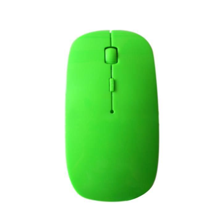 2.4GHz souris optique sans fil ultra-mince 1200DPI USB PC ordinateur portable cadeau de souris de jeu d'ordinateur Vert