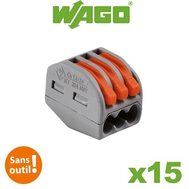 Bornes automatiques 3 fils S222 - Boite de 15 pièces WAGO