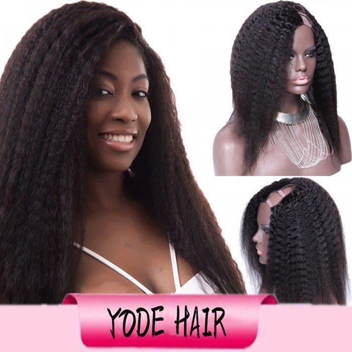 12 pouce Kinky Straight Side Partie U Partie Perruque Cheveux Brésiliens Upart Perruques Pour Les Femmes