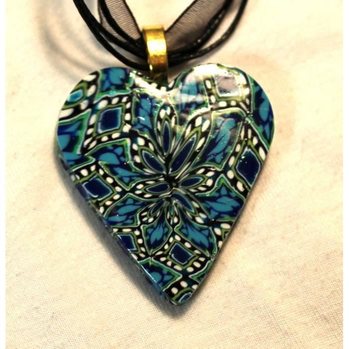 Womens Polymer Clay Cane Work Necklace On Organza Cord Z9YZ1
