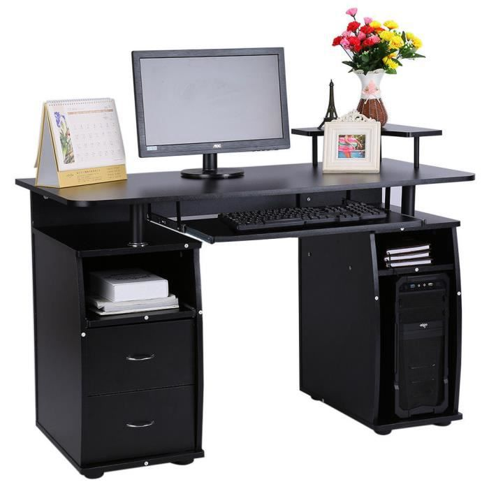 bureau d 39 ordinateur avec tag re armoire tiroir table meuble pc noir achat vente meuble. Black Bedroom Furniture Sets. Home Design Ideas