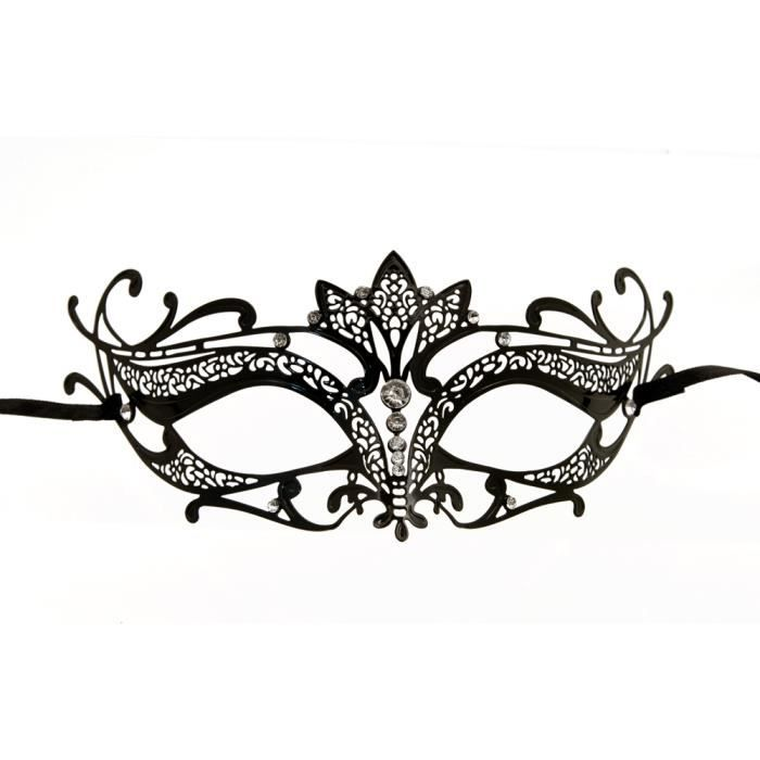 masque venitien noir en dentelle de metal achat vente masque d cor visage masque venitien. Black Bedroom Furniture Sets. Home Design Ideas