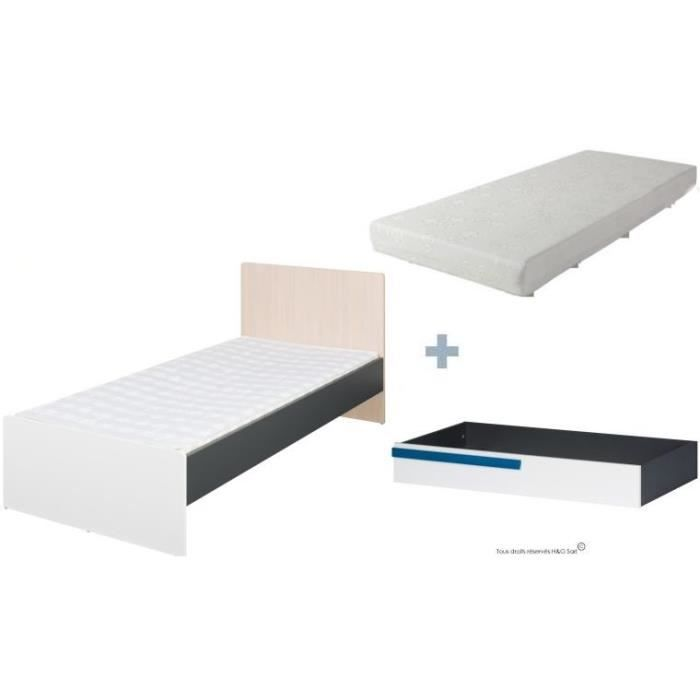 pack lit 90x200 ado sam tiroir sommier et matelas bleu sans option achat vente chambre. Black Bedroom Furniture Sets. Home Design Ideas