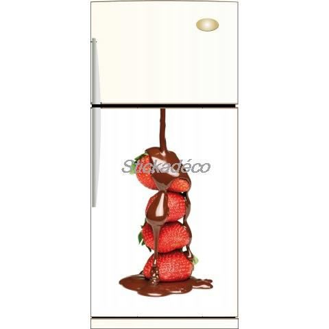 Sticker frigo frigidaire chocolat fraise dimens achat for Decoration porte frigidaire