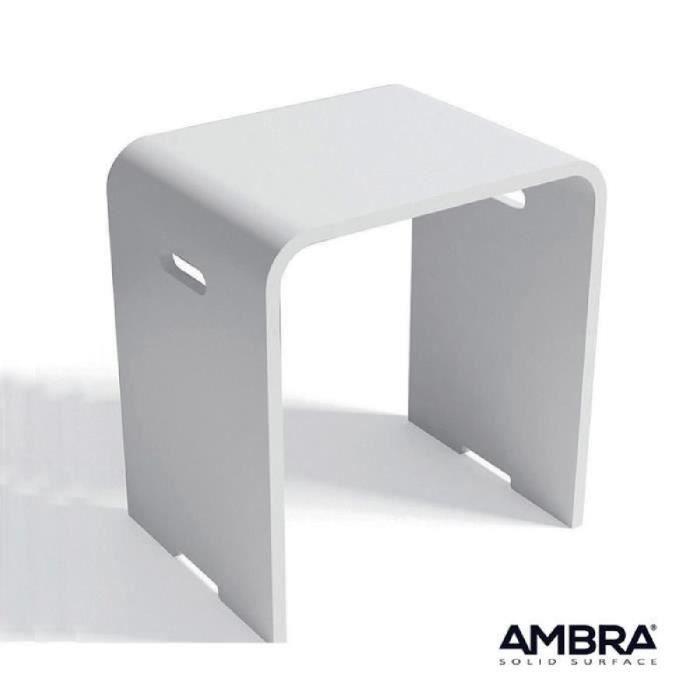 Tabouret salle de bains Kento en Solid surface Blanc