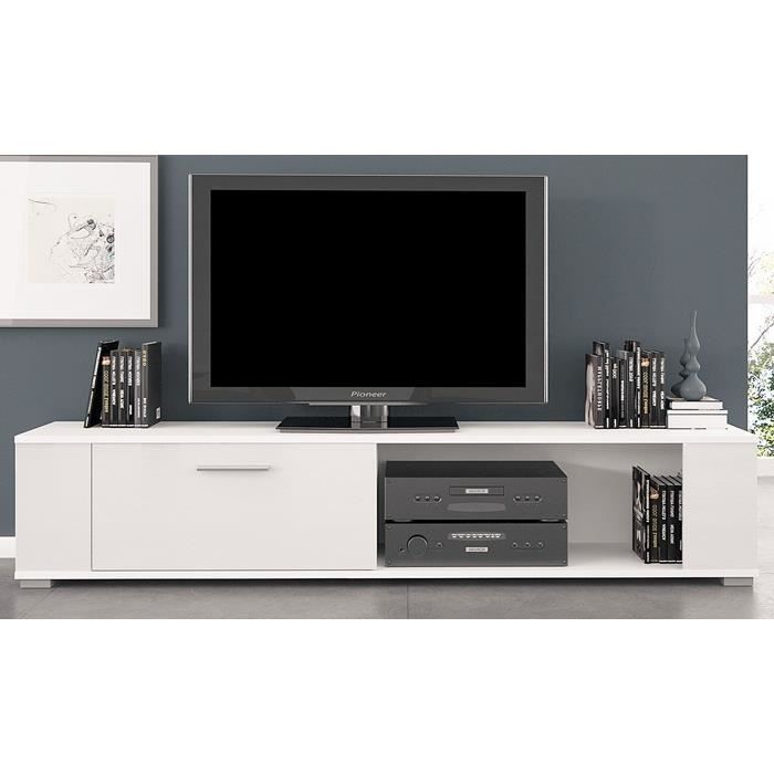 Meuble tv t l vision blanc blanc brillant achat for Meuble living blanc