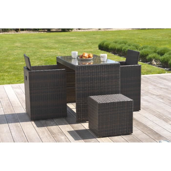 ensemble de jardin encastrable 4 places en r sine tress e. Black Bedroom Furniture Sets. Home Design Ideas