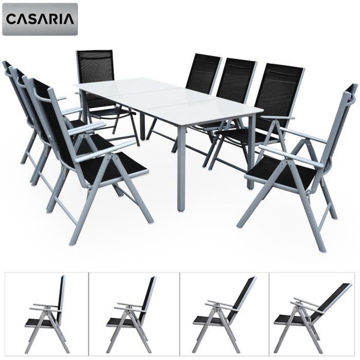 Salon de Jardin Aluminium Argent »Bern« 1 Table 8 chaises ...