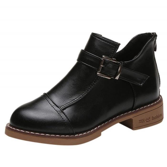 Botte Femme Hiver Homme Martin Bottes Cuir Bottines Plates Fourrées Boots Chaussures Lacets Classiques Chaudes Impermeables de