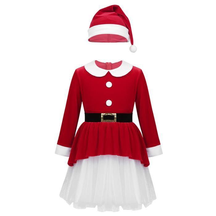 Tenue Noel Fille Déguisement Mère Noël Fille Enfant Robe Noël Velours Chapeau