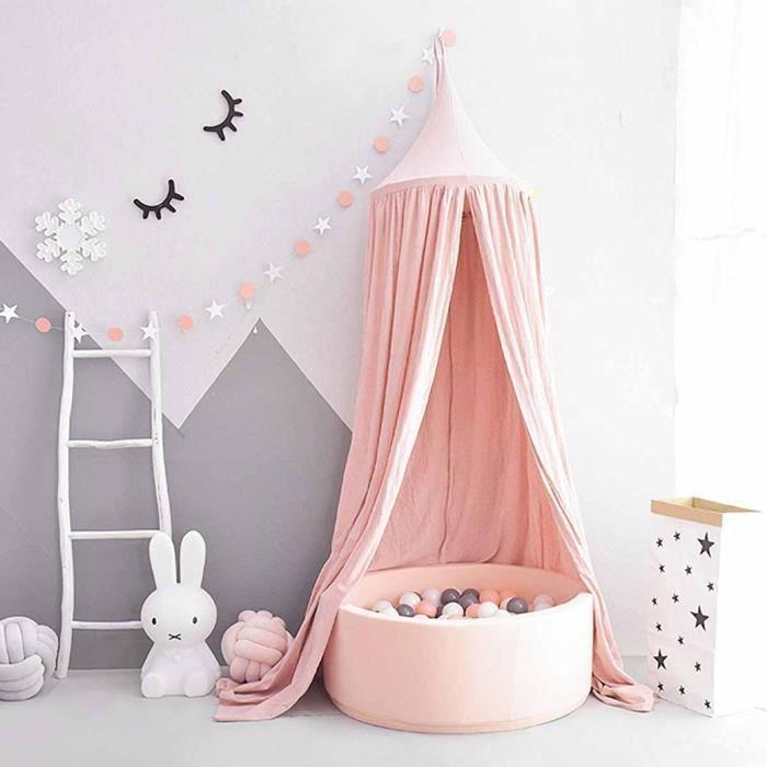 Ciel de lit pour enfants d/ôme princesse pour b/éb/é moustiquaire en coton rond pour chambre de jeu