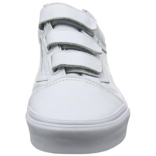 vans blanches en cuir à scratch