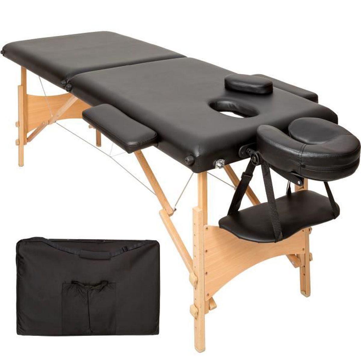Table de massage TECTAKE Table de Massage Pliante Bois 2 Zones Port