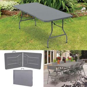 TABLE DE CAMPING Table pliante d'appoint effet résine tressée grise