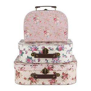 PORTE MONNAIE Lot de 3 valises de rangement vintage Rose