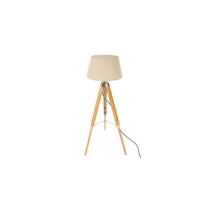 Lampadaire trépied en bambou - H 146 cm Beige