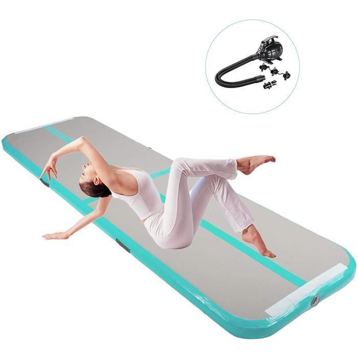 Tapis de Gymnastique Gonflable Airtrack Gymnastique PVC Tapis de Tumbling pour Yoga/Taekwondo/Entrainement 500 x 100 x 10 cm Vert