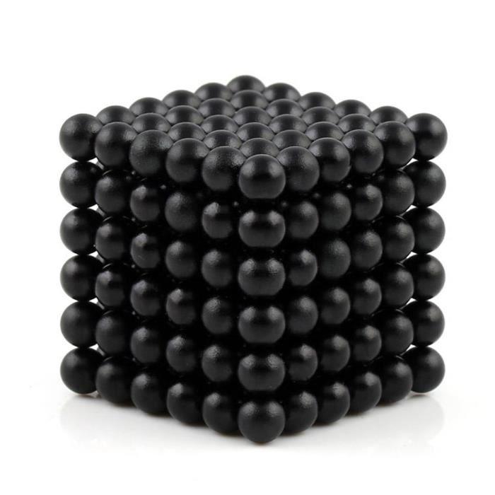 Billes Magnétiques Anti-Stress, 216 Magnet Balls, Billes Aimantées 5mm, Cube magnétique, couleur noire
