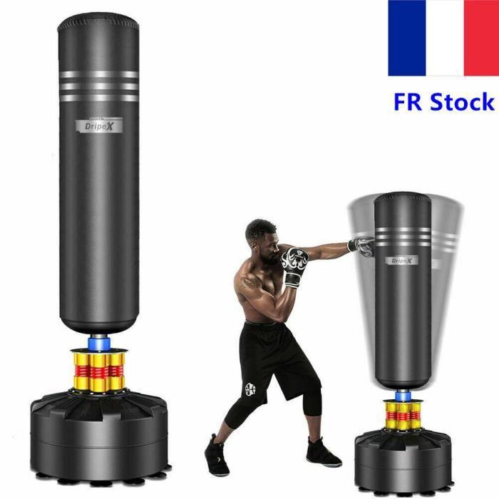 Sac de frappe de boxe sur pied Noir Adulte, Sac de frappe--1,75m Idéal pour boxe, kick boxing