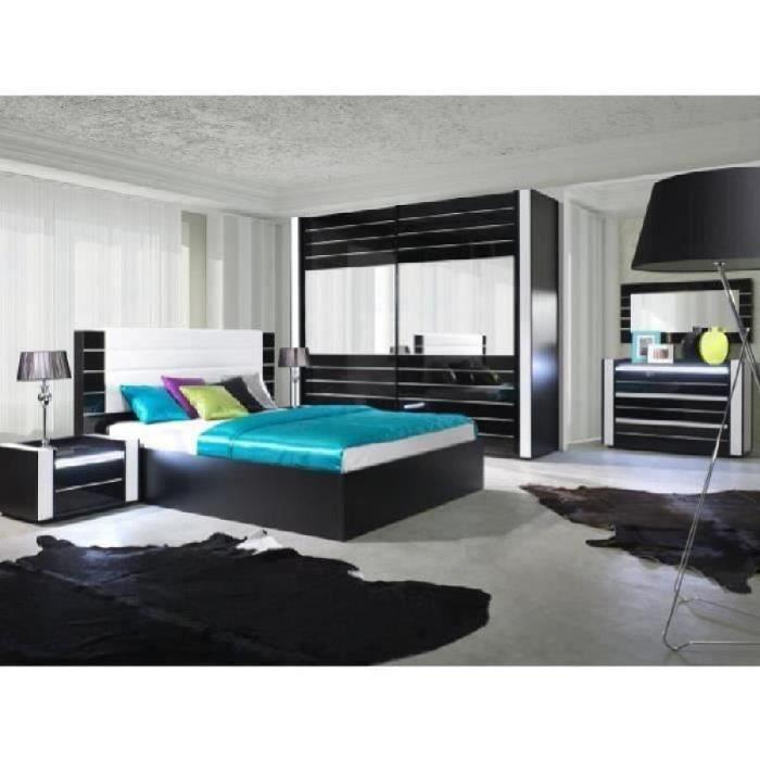 Lit adulte design LINA noir et blanc laqué + tête de lit en simili cuir