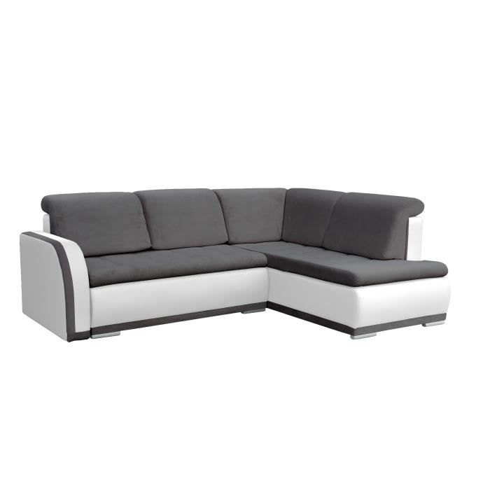 Canapé d'angle Convertibles 3 Places Tissu + Simili Cuir Vero II (Gris foncé + Blanc, Canapé d'angle Droit)