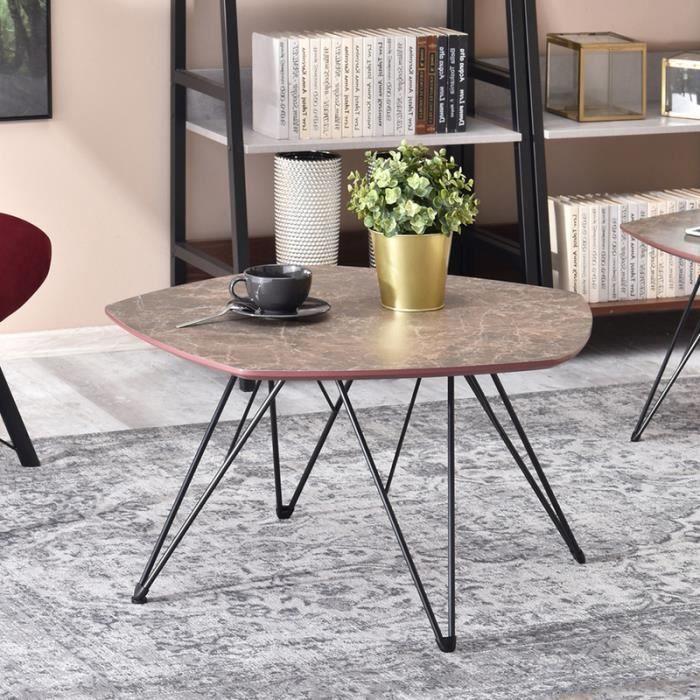Table basse marbre / Table de salon - PENTA - 76x75 cm - effet marbre brun / noir - forme de pentagone - style industriel