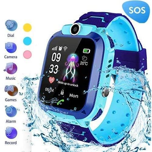 Hangang Montre Intelligente Enfants LBS Tracker Smartwatch Étanche IP67 Montre Connectée Enfant avec SOS Réveil Camera Jeux pour 3-1