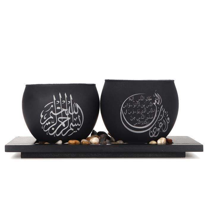 Bougeoir en Verre Musulman islamique Avec Caillou LED Décor Ramadan Cadeau NOIR S Aw13168