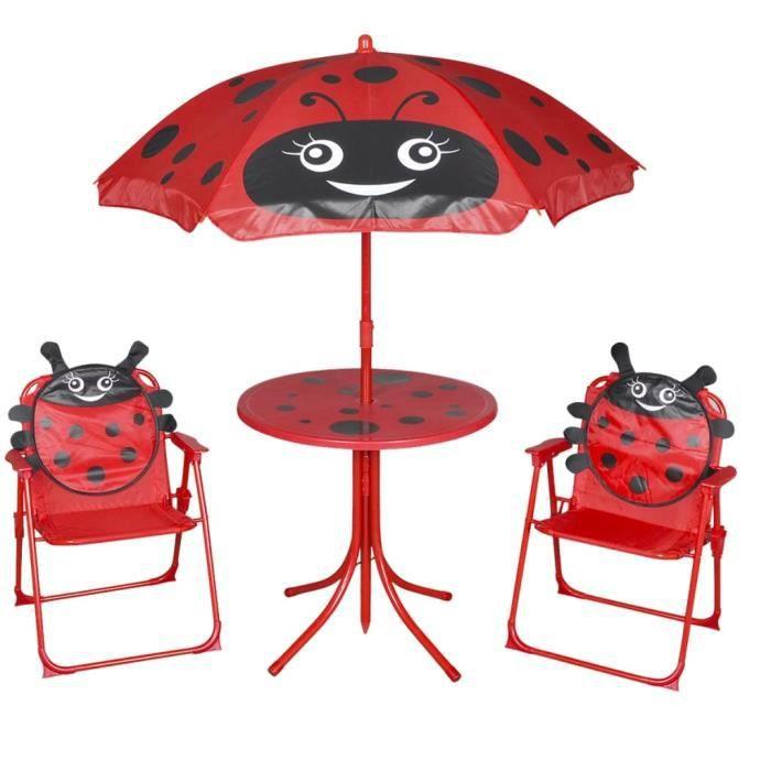 Jeu de Bistro Balcon - Salon de Jardin Terrasse - avec parasol pour enfants 3 pcs Rouge
