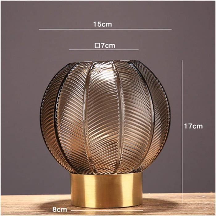 VASE s Eacuteleacutegant Vases 1pcs Lumineux Luxe Rond Vase en Verre Brun Vase Transparent Inserts de Base Or Maison de Salon de441