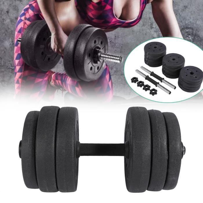 Lot de 2 Haltère Haltères Haute Qualité Ajustable Sécurité et Antidérapant Gym Exercices Formation Outils Poids 20 KG -RAI