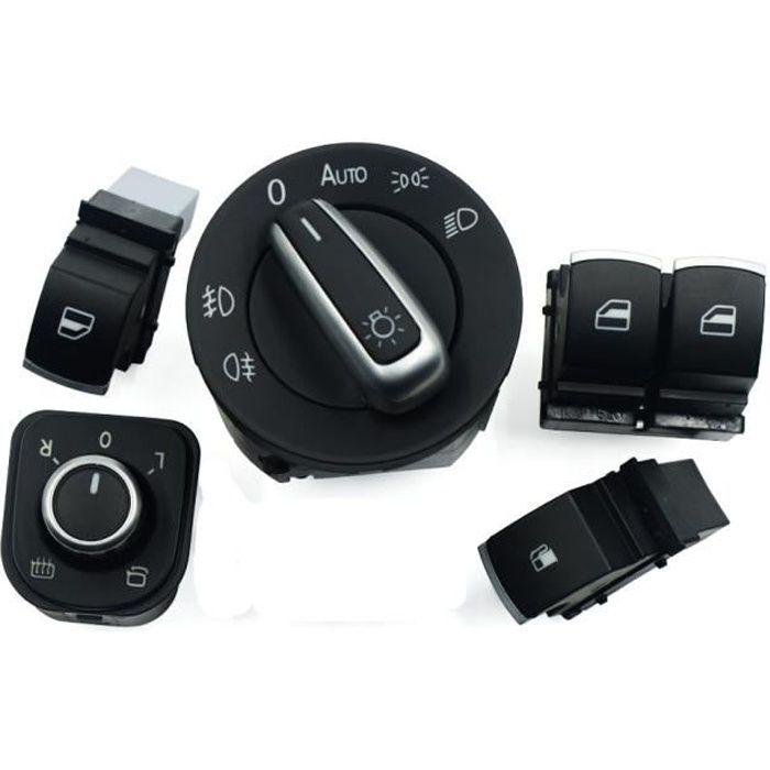 Phares et optiques,Interrupteurs phares et fenêtres pour phares miroir pour voiture, chromé, 5 pièces-ensemble, pour VW Eos Golf